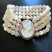 Classic Stunning Cameo Four Strand Mother of Pearl MOP Vintage Bracelet
