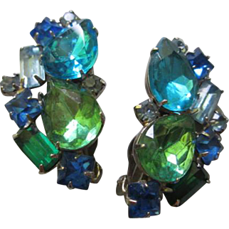Fabulous Vibrant Teal Aquamarine Blues Greens Crystals Vintage Clip Earrings