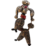 Sassy Classy 1950s Rhinestone Enamel Textured Vintage Figural Poodle Pin