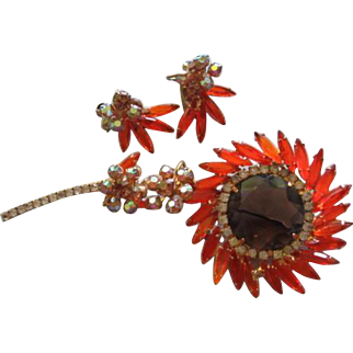 DE Juliana Incredible Huge Flower Statement Brooch Pin and Matching Clip Earrings Vintage Set Demi Parure