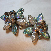 Fabulous Cathe Signed Art Glass Iridescent AB fx Pearl Vintage Clip Earrings