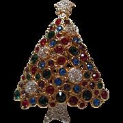 Rare Swarovski Signed Christmas Tree Bezel Set Crystals Gold Plated Vintage Brooch Pin Swan Logo
