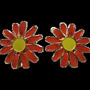 Orange and Yellow Enamel 1960's Flower Power Vintage Earrings