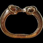 KENNETH Jay LANE KJL Signed Jeweled Double Ram's Head Gold Tone Vintage Hinged Bangle Cuff Bracelet
