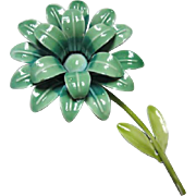 Vintage Flower Power Enamel Brooch Pin 1960s