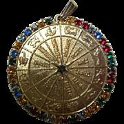 Fabulous Zodiac Symbols Colored Rhinestones Vintage Pendant