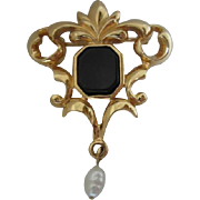 Beautiful Art Nouveau style Signed Vintage Brooch Pin