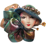 Gorgeous Fashion Lady Iridescent Colors Hand made Vintage Brooch Pin
