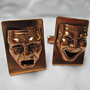 Fabulous Comedy Tragedy Mask Copper Vintage Cufflinks