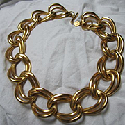 Anne Klein Bold Double Chain Statement Matte Gold tone Vintage Modernist Necklace Signed Hang Tag