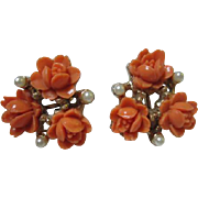 Carved Coral Celluloid fx Pearl Vintage Earrings