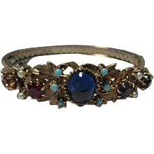 Gorgeous Jeweled Victorian Art Nouveau Style Vintage Bangle Bracelet