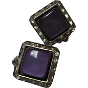 Dazzling Coro Signed Purple Moonglow Crystal Rhinestone Square Clip Vintage Earrings
