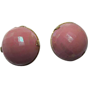 Gorgeous Signed Austria Pink Iridescent Faceted Half Circle Vintage Clip Earrings