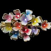 Colorful Enamel Flowers Vintage Brooch Pin