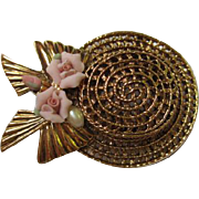 Fabulous My Fair Lady Hat  Pink Roses fx Pearl 1928 Company Vintage Brooch Pin