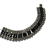 Gorgeous Wide Australian Crystal Black and Clear Rhinestone Vintage Bracelet