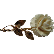 Signed Burt Cassell Carved Bone Rose 12K gold filled Vintage Brooch Pin