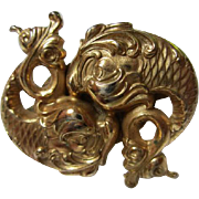 Gorgeous Napier Signed Double Fish Gold Plated Vintage Scarf Clip