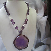 Amazing Amethyst Geode Gem stones Fully Faceted Crystal Statement Vintage Pendant Necklace