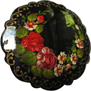 Beautiful Hand Painted Lacquered Flower Scalloped Vintage Brooch Pin Russian Folk Art