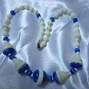 Fabulous Art Deco Cobalt Blue White Glass Step Design Iconic Vintage Necklace