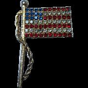 Patriotic Austrian Crystal prong set Vintage American Flag Brooch Pin