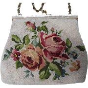 Gorgeous Vintage Hand Made Roses Needlepoint Beaded Special Occasion Evening Bag Purse