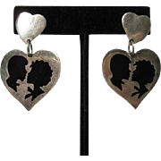 Taxco Silhouette Romantic Sterling Silver Fabulous Signed Vintage Post Earrings 925
