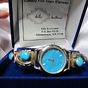 Adla Navajo Turquoise Sterling Silver Native American Southwest New in Original Box Vintage Watch Signed