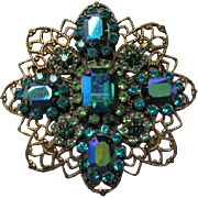 Signed Liz Paiacios SF Gorgeous Blue Green AB Crystal Rhinestone Filigree Antique Gold plated Vintage Brooch Pin