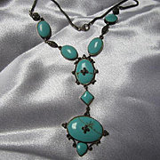 Magnificent Turquoise Marcasite Sterling Silver Sleeping Beauty Vintage Necklace