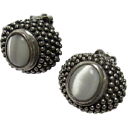 Classic Sterling Silver Moonstone Vintage Clip Earrings