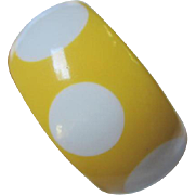 Yellow Lucite White Polka Dot Infused Wide Vintage Bangle Bracelet