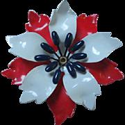 Patriotic Red White Blue Enamel Flower Power 1960s Vintage Brooch Pin