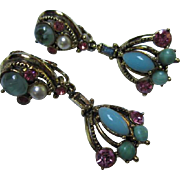 Weiss Signed Beautiful Colorful Victorian Style Dangle Vintage Clip Earrings