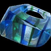 Fabulous Asymmetrical Mod Lucite Blues Greens 1960s Vintage Ring