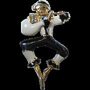 Whimsical Pied Piper Vintage Figural Enamel Rhinestone Brooch Pin