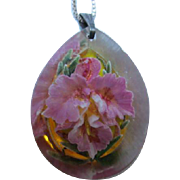 Lovely Lavender Orchid Reverse Painted Lucite Teardrop Pendant on Sterling Silver Vintage Necklace