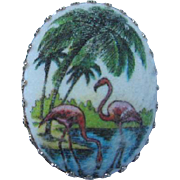 Signed West Germany Pink Flamingos Palm Tree Oval Vintage Brooch Pin