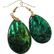 Gorgeous Green Peacock Abalone Teardrops on Gold color wire Vintage Earrings