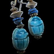 Egyptian Revival Faience Scarab Lapis Hanging Vintage Vermeil French Hook Earrings