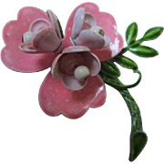 Pretty two tone Pink Flower Power Enamel 1960s Vintage Brooch Pin