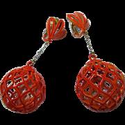 Fabulous Funky Mod Orange Enamel Groovy Dangle 1960s Vintage Earrings
