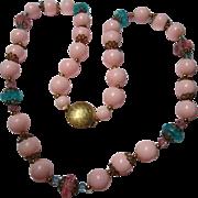 Pastel Pink Blue 1950s Lucite Plastic Summer Vintage Necklace