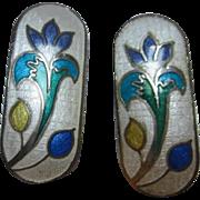 Gorgeous Guillioche Enamel Scandinavian Style Elongated Flower Vintage Clip Earrings