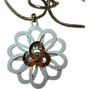 Gorgeous Modernist White and Gold color Enamel Flower Pendant Long Quality Chain Vintage Necklace