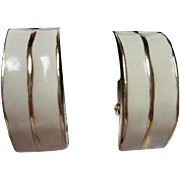 Signed KoKo Classic White Enamel Gold Plated Vintage Half Hoop Clip Earrings