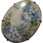 Victorian Hand Painted Flowers Porcelain C Clasp Vintage Brooch Pin