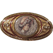 Rare Gorgeous Signed PC Portrait Enamel Oval Great Detail Clear Crystal Rhinestone Detail President's Club Vintage Brooch Pin